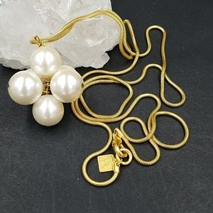 Anne Klein Pearl Cluster Necklace